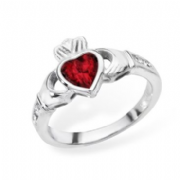 Sterling silver rubover set ruby cubic zirconia claddagh ring